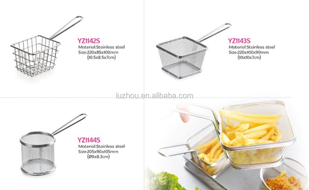 Chips Mini Fry Baskets Stainless Steel Fryer Basket Strainer Serving