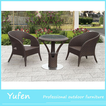 Cup Hole Designed Chatting Sofa Furniture Set Outdoor Rattan Wicker ...