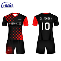 Sublimated Football Wear Latest Design Xxl Black And Red White Soccer Jersey Soccer uniforms