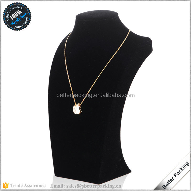 Black Velvet Wrapped Pendant Chain Jewelry Display Bust