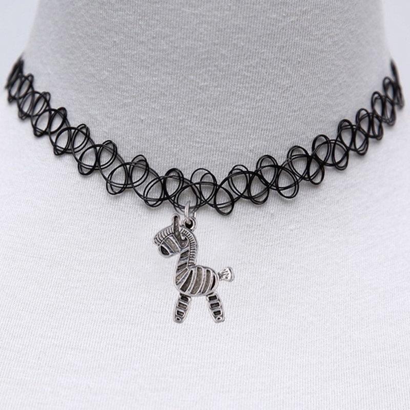 Black Chain Vintage Stretch Tattoo Punk Retro Gothic  Pendant Choker Necklace