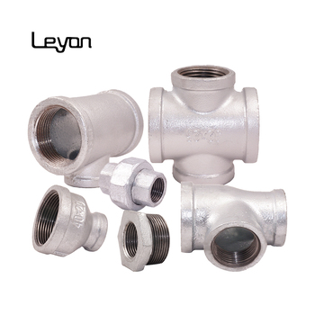 "galvanized malleable pipe fitting bull head tee npt thread fittings fm cross fitting 3/4"" reducing socket"