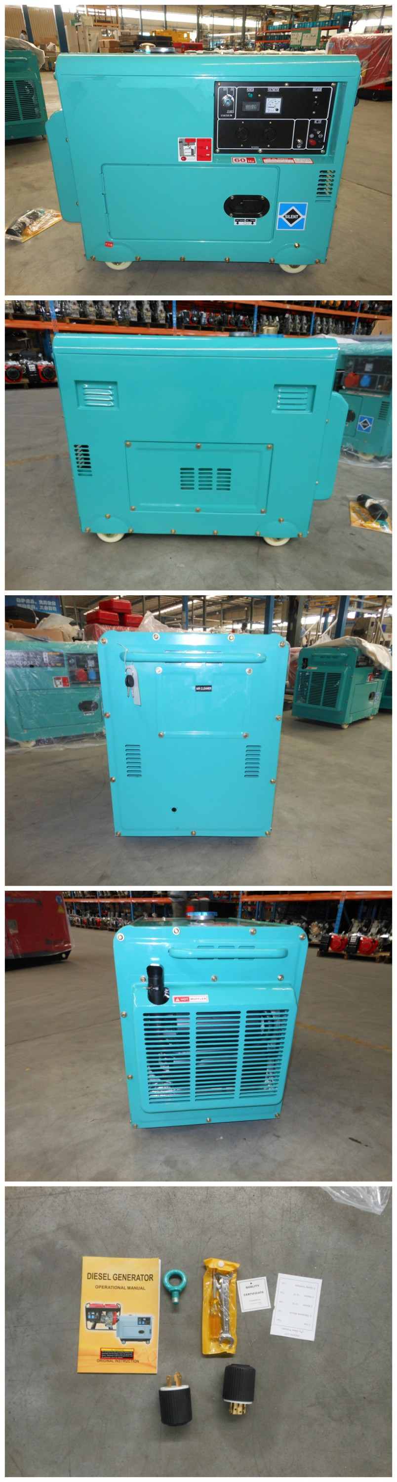 High Quality Silent Diesel Generator With Canopy 5kva With La186
