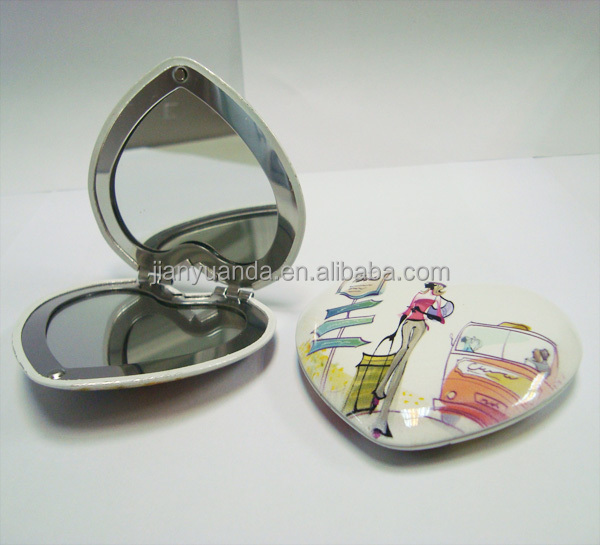 Aluminum Material and Case Type vanity girl hollywood heart shaped compact mirror