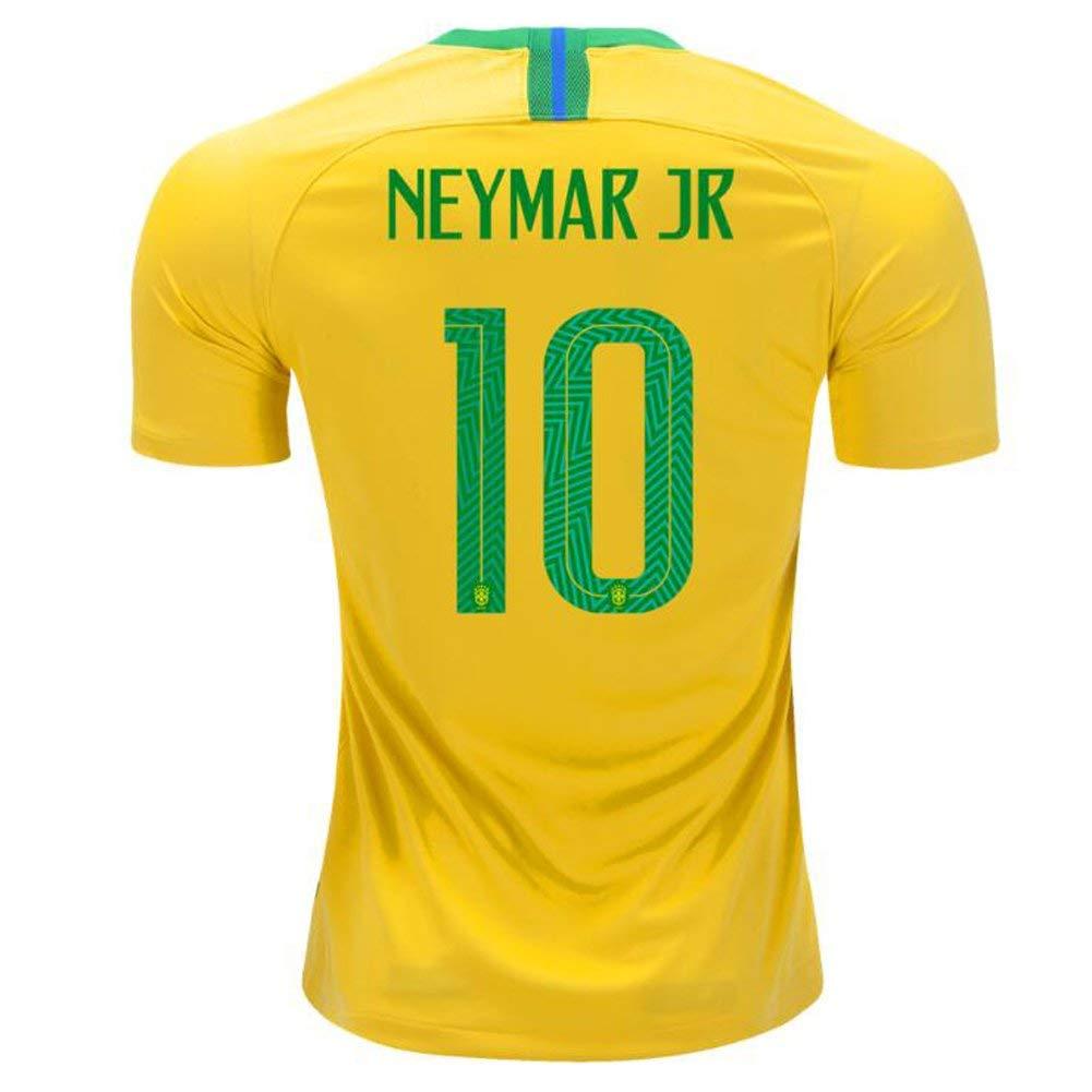 bc43144c60b Get Quotations · Brazil  10 JR Neymar National Team Home Stadium 2018 Mens Soccer  Jersey Color Yellow