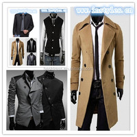 New Quanzhou Men's Slim Stylish Trench Coat Winter Long Jacket Double Breasted Overcoat