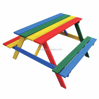 Wooden outdoor furniture /Wood kids picnic table with bench