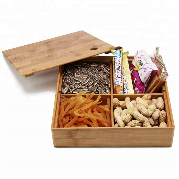 Kopen Desktop Office Supply Multi Decoratieve Bamboe Snack Opbergdoos
