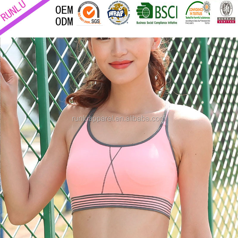 New design lady's stripe on bottom double layer pushing up GYM bra