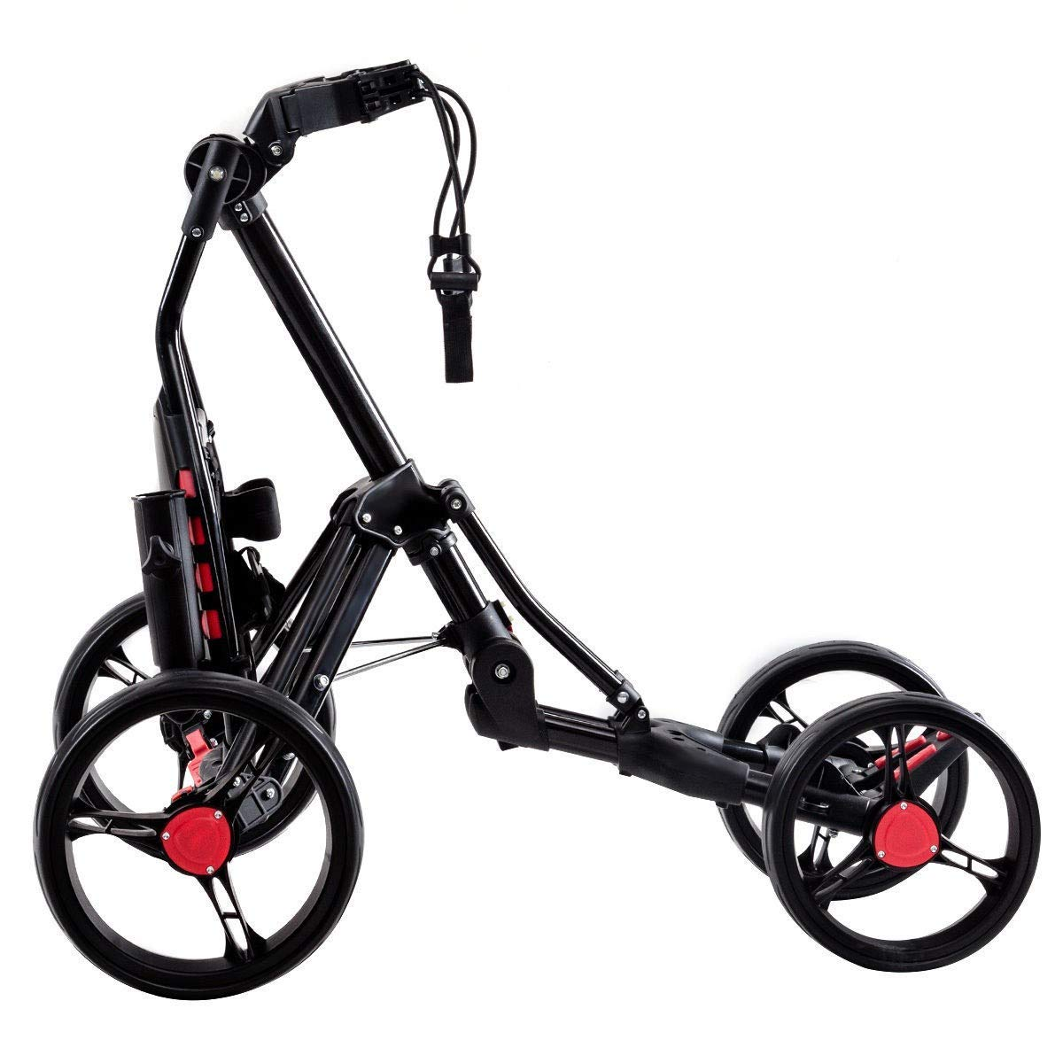 BeUniqueToday Folding 4 Wheels Golf Pull Push Cart Trolley, Golf Pull Push Cart Trolley with Strong Aluminum Frame and Weighs Less Than 15 lbs, Adjustable Golf Pull Push Cart Trolley