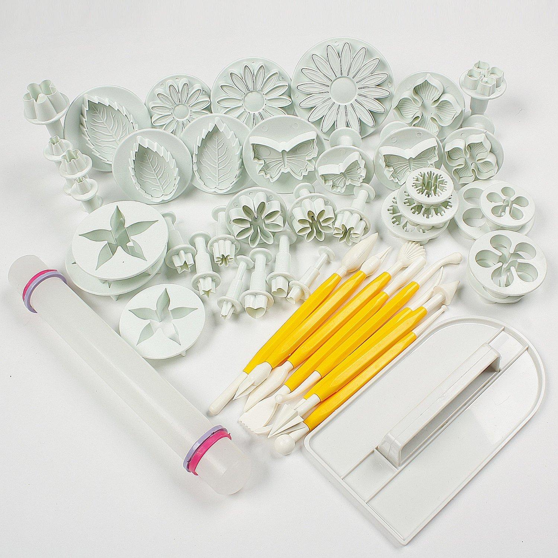 Leegoal Cake Tools 14 sets (46pcs) Flower Fondant Cake Sugarcraft Decorating Kit Cookie Mould Icing Plunger Cutter Tool