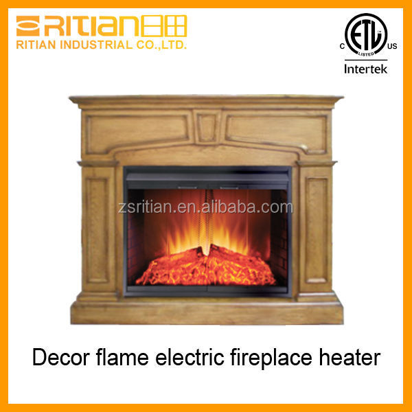 Decor flame electric fireplace heater with wood mantel