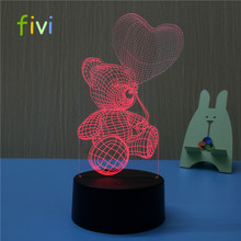 3d Illusion Table Lamp home lighting colorful Bear Acrylic creative 3d led lamp night light