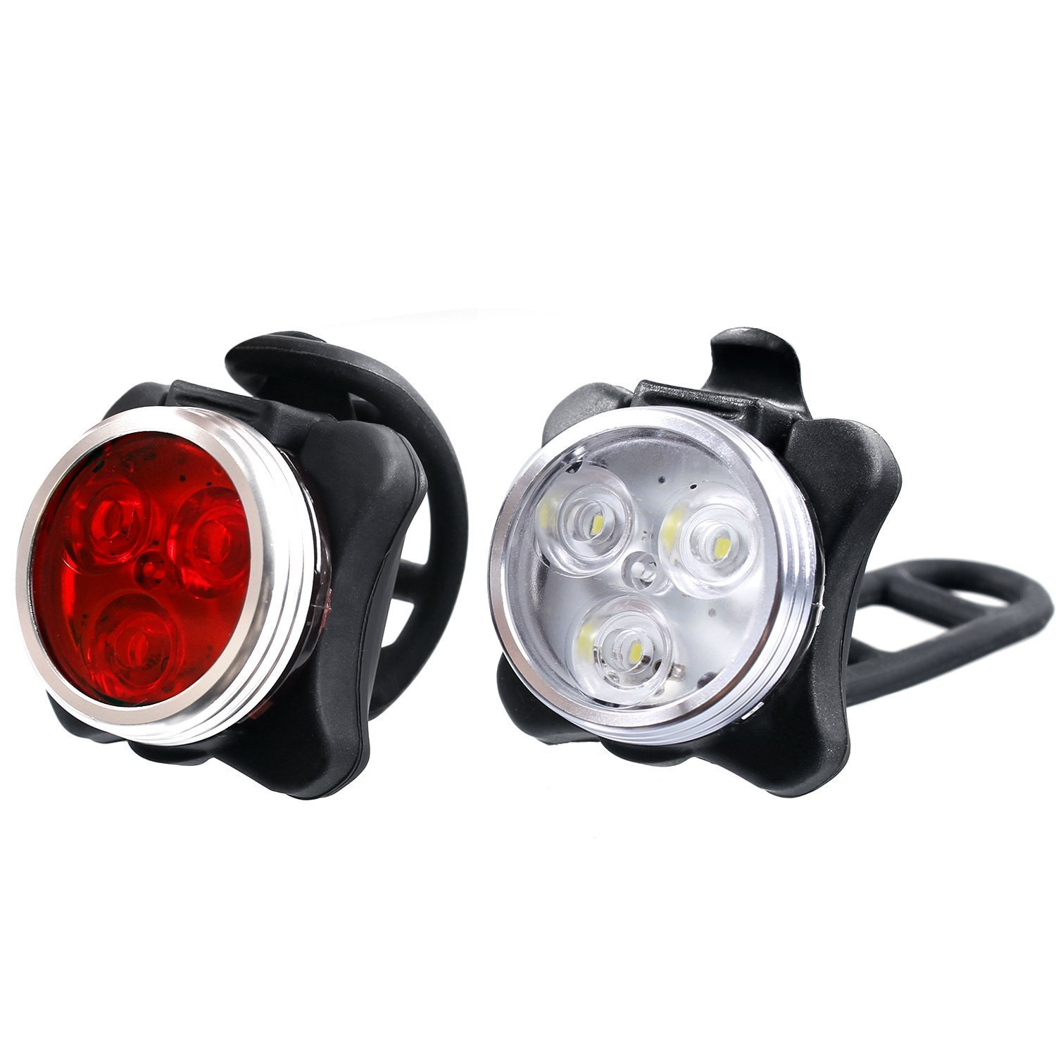 Riju LED Bike Lights Set,USB Rechargeable Bicycle Light Set Super Bright(white headlight+ red taillight +bike bell )650mAh Lithium Battery, 4 Light Mode Options