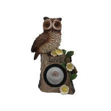 Hot Sale Resin Solar Powered Owl LED Garden Light