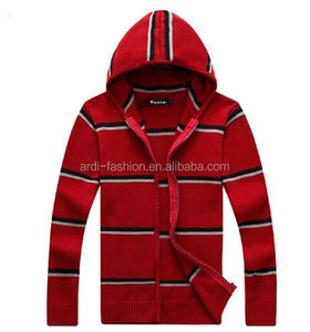 mens red charcoal grey knitted hooded zip striped cardigan with hood