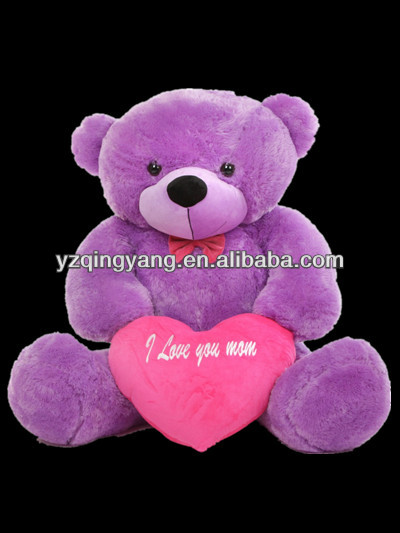 Wholesale mother's day gift cute stuffed plush purple teddy bear toy with red heart