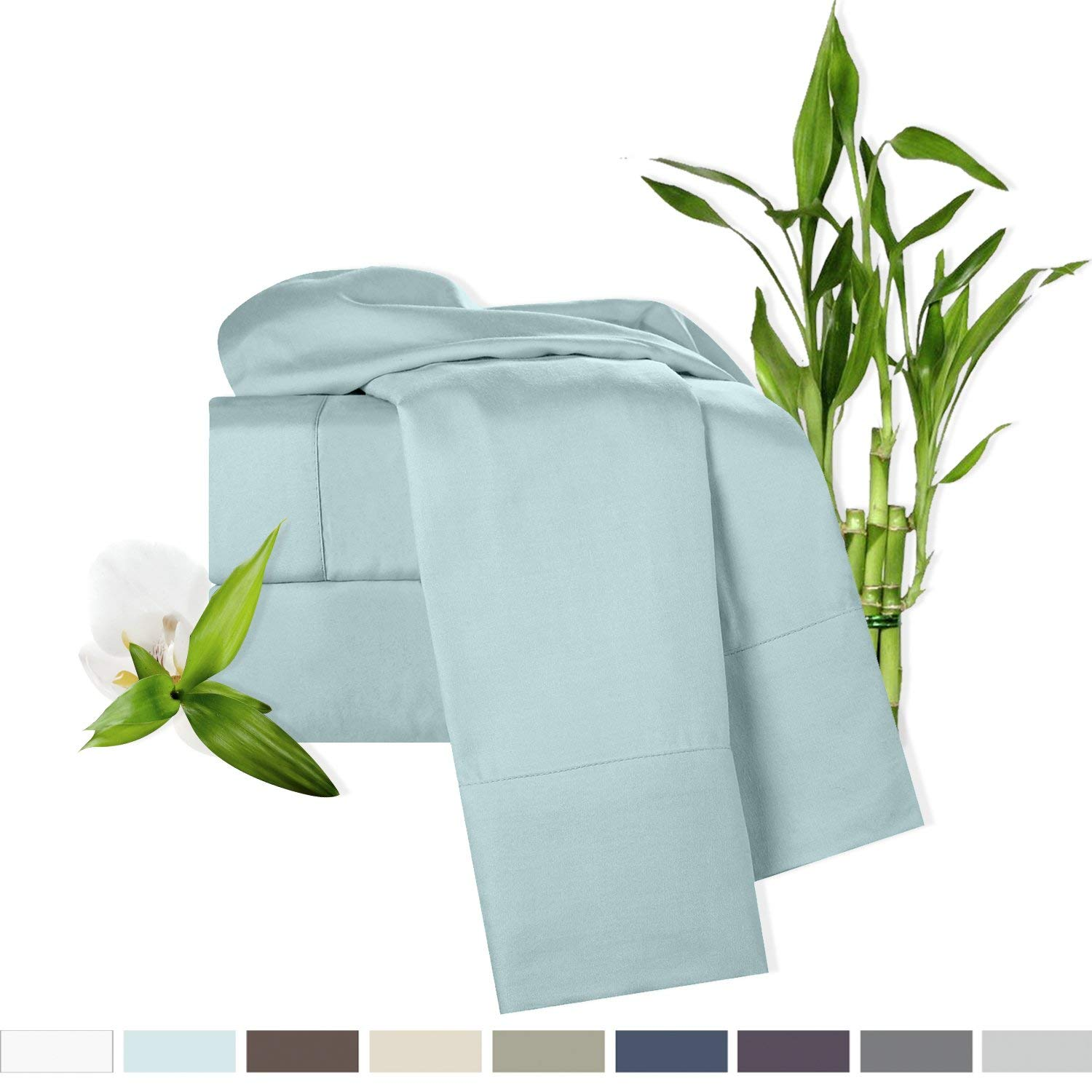 Bamboo Bed Sheet Set, Light Blue (Aqua), King Size, By Clara Clark, 100% Rayon Made From Bamboo Sheets, Luxury Super Silky Soft With Extra Thick Corner Elastic Straps On Fitted Sheet, Machine Washable
