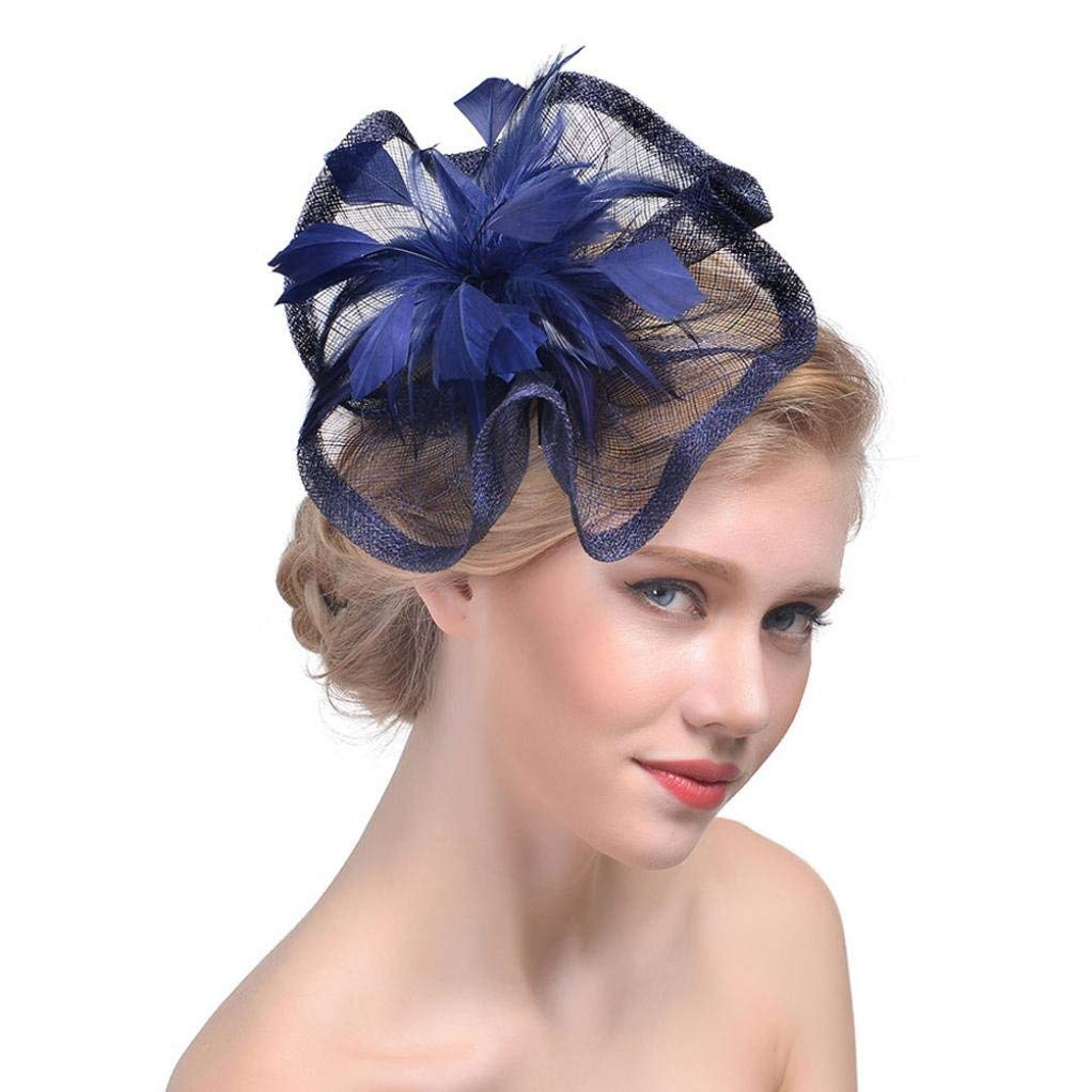 be4d8525010 Get Quotations · Buolo Fascinator Hat Vintage Flower Feather Mesh Party Hat  for Girls and Women Cocktail Tea Party