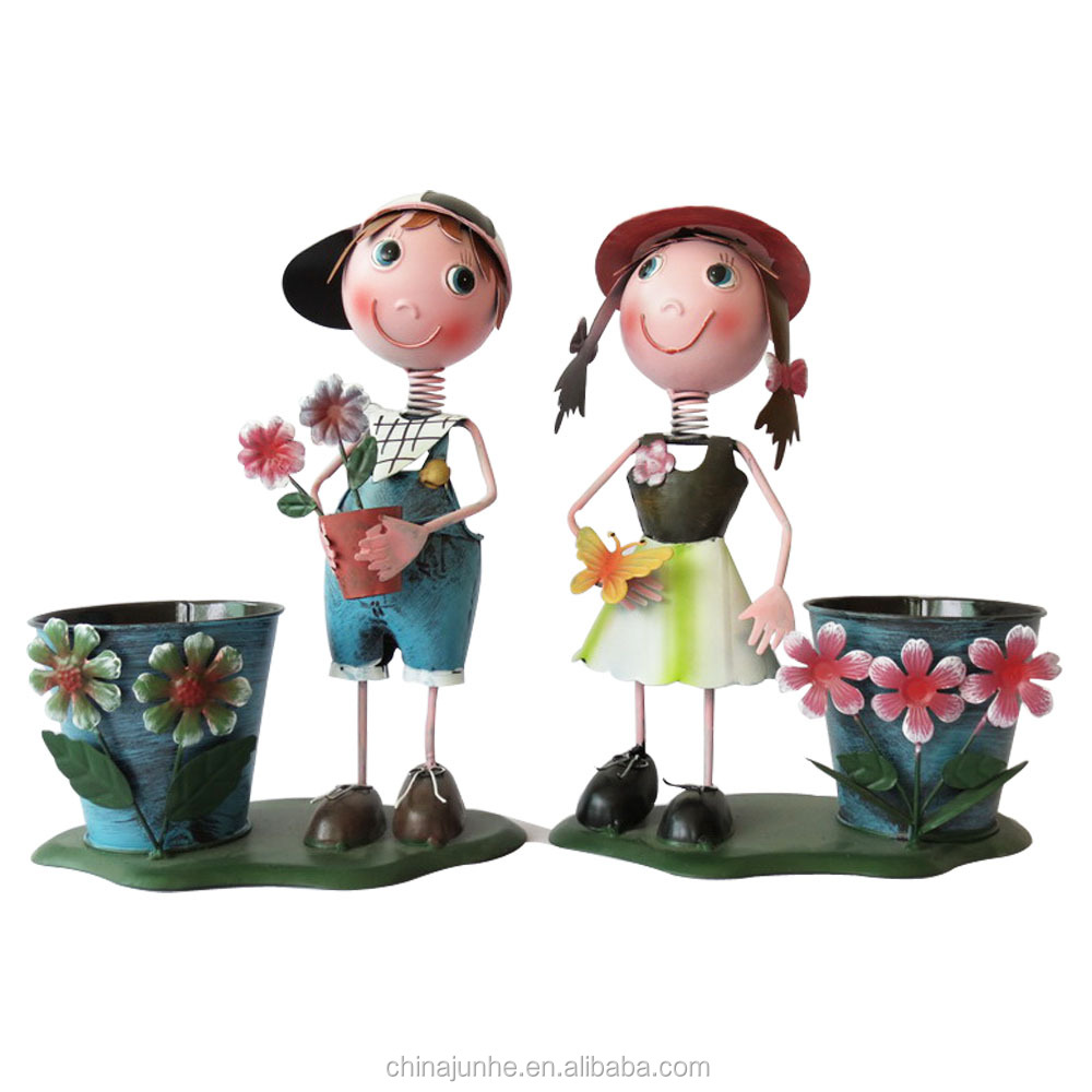 Pour jardin d coration artisanat en m tal gar on et fille for Decoration de jardin en metal