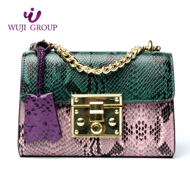 Most popular <strong>women</strong> genuine leather weekend python pattern bag