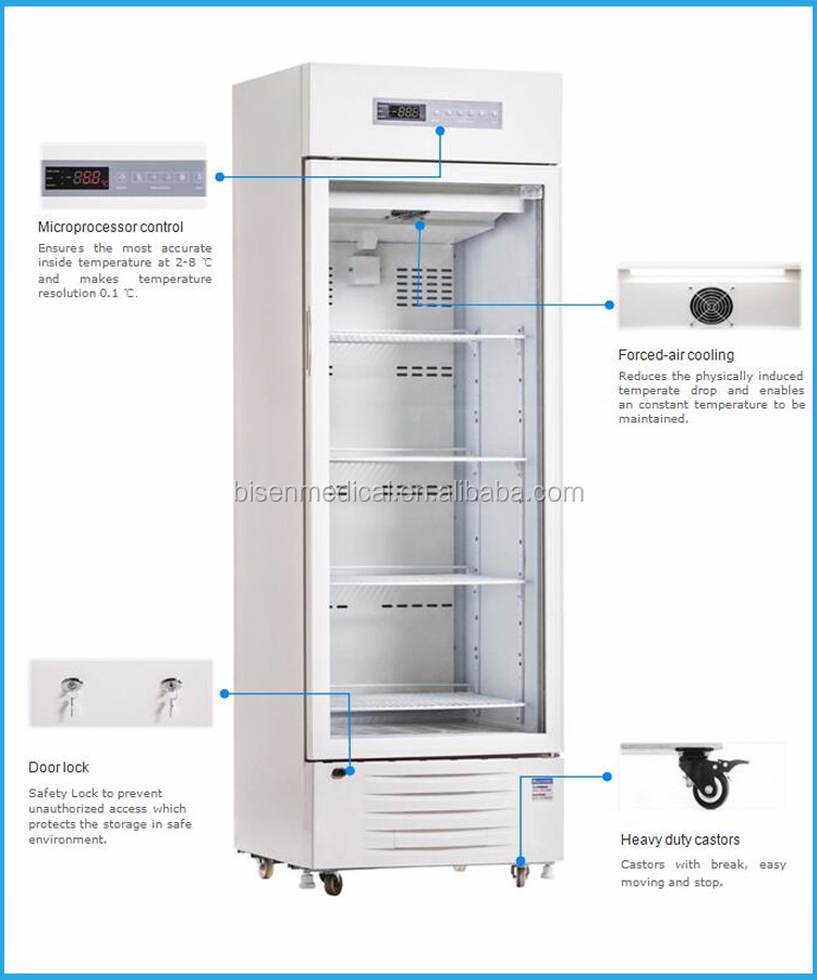 BS-5V Series Glass Door China CE Approved Upright Type 300L Medical +2~+8C Pharmacy Refrigerator