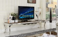 Modern Metal Moving TV Stand with Built in Speakers