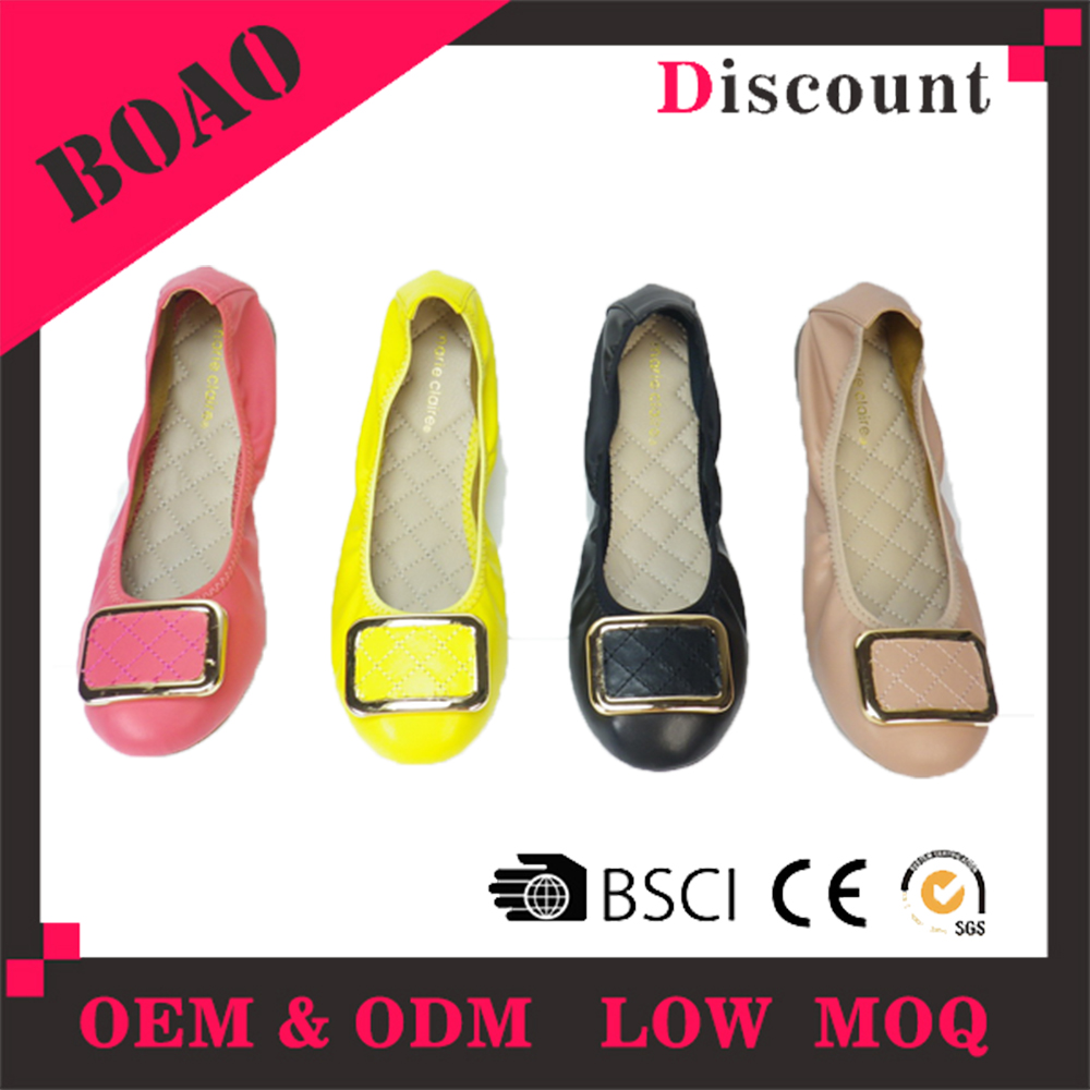 Factory ladies wholesale PU upper women multi colored china flat shoes