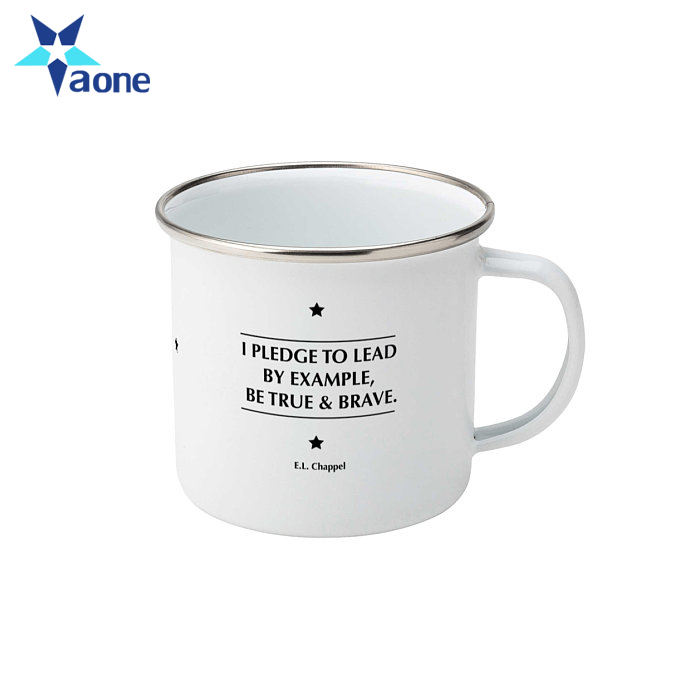 Custom Print 16oz Mockup Enamel Mug Set Bulk Coffee Camping Tea Mugs Wholesale