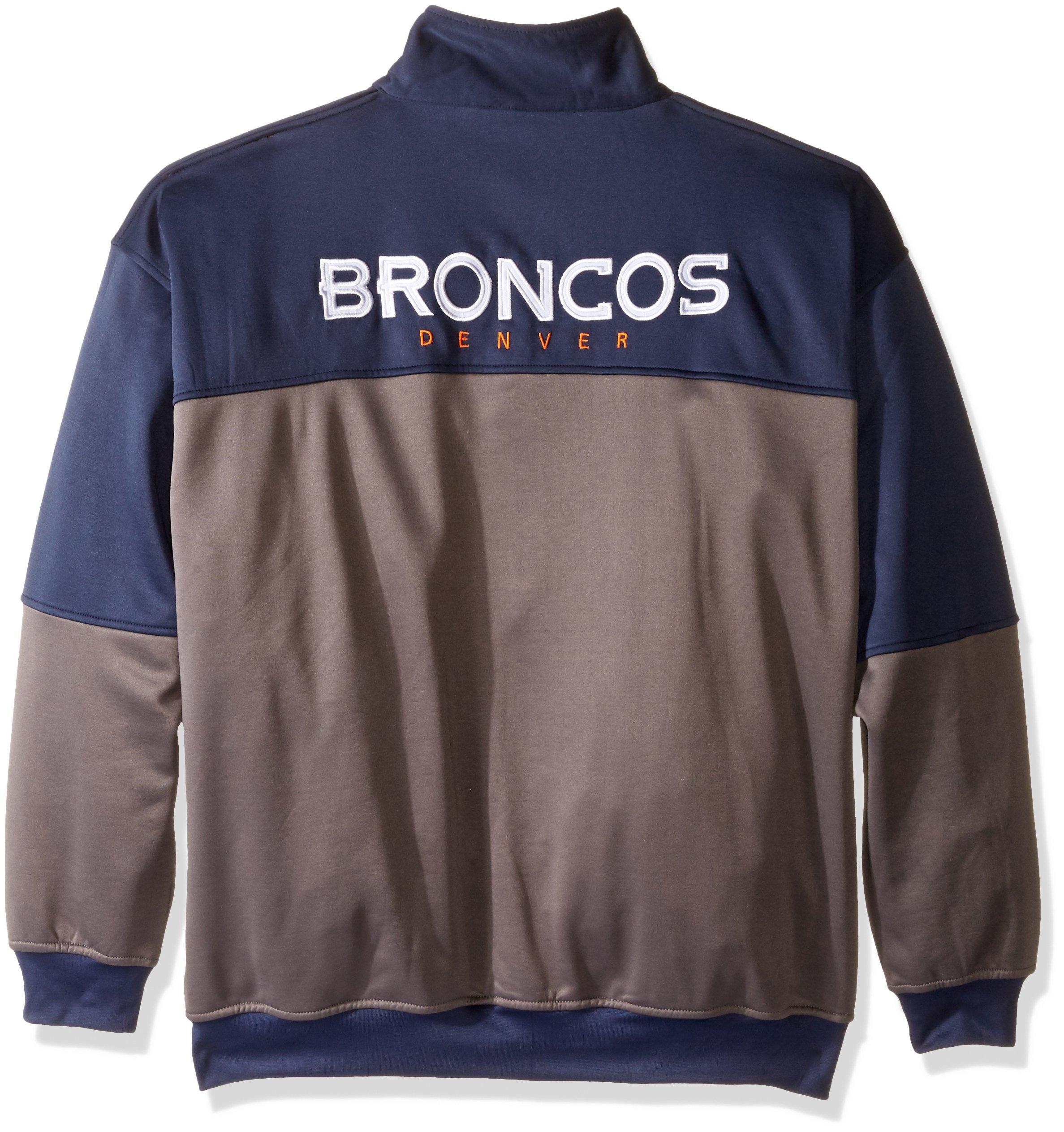 NFL Denver Broncos Unisex Poly fleece Track Jacket, CHARCOAL/Orange, 3X