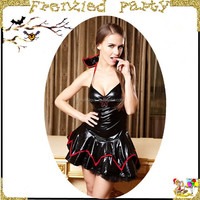 New arrival sexy lady black leather halloween vampire costume FGWC-0023
