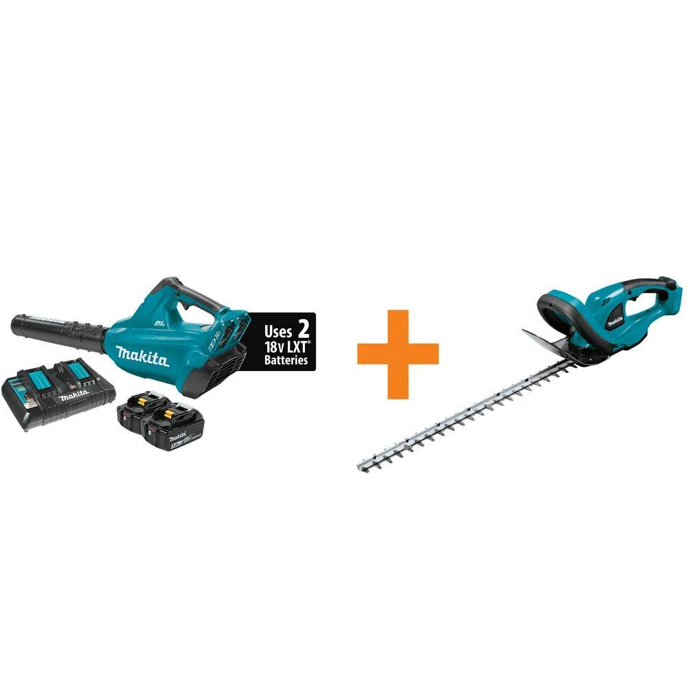 New Makita 18-Volt X2 (36-Volt) LXT Lithium-Ion Brushless Cordless Blower Kit (5.0Ah) with Bonus Cordless 22 in. Hedge Trimmer