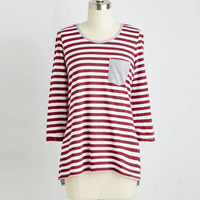 Loose round neck stripes ladies t shirt with pocket