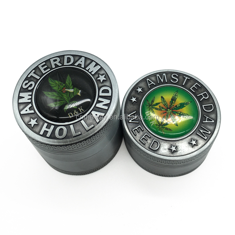 New Smoking Weed Grinder Dry Herb Tobacco Grinder Metal Zinc Alloy Gunblack Pipes For 40MM 50MM Spice Tobacco Herb Grinder