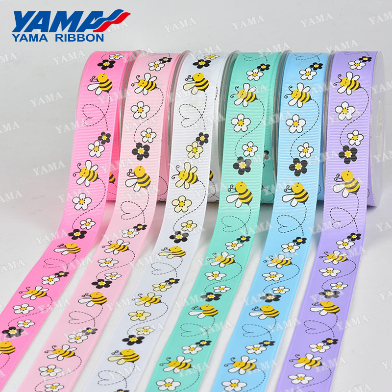 YAMA stocked sale fancy spring flower bee pattern custom printed ribbon
