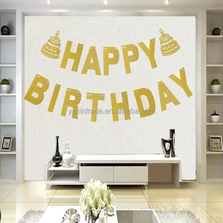 Happy Birthday Glitter Gold Letters Party Bunting Banner