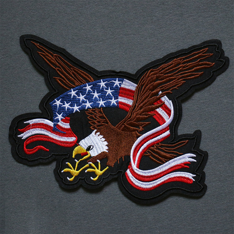 Kustom Bordir Patch, 3D Bordir Patch Eagle dengan American Flag Logo untuk Jeans
