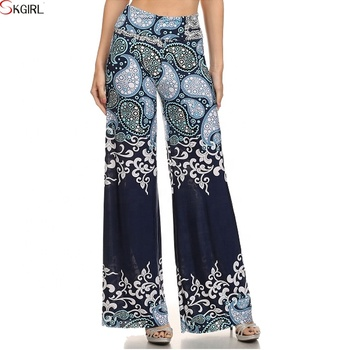 d36773469c8 wholesale Women Flared Wide Led Printed Plus Size Parallel palazzo Trousers  pants
