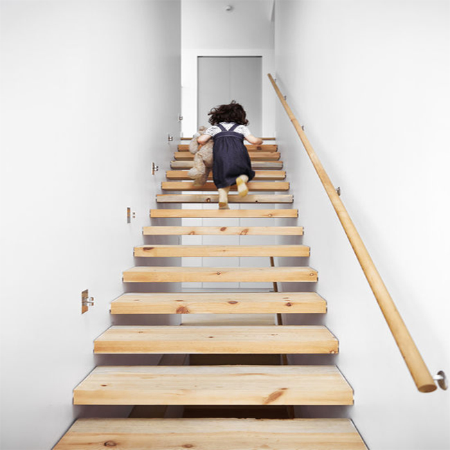 Outdoor Floating Stairs Florida Project: 500mm Thickness Wood Tread Of The Floating Staircase