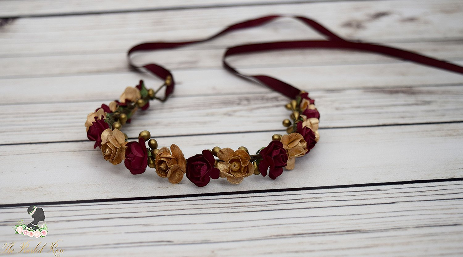 Cheap flower crown diy find flower crown diy deals on line at get quotations handcrafted burgundy and gold flower crown rose flower halo small flower crown wedding izmirmasajfo