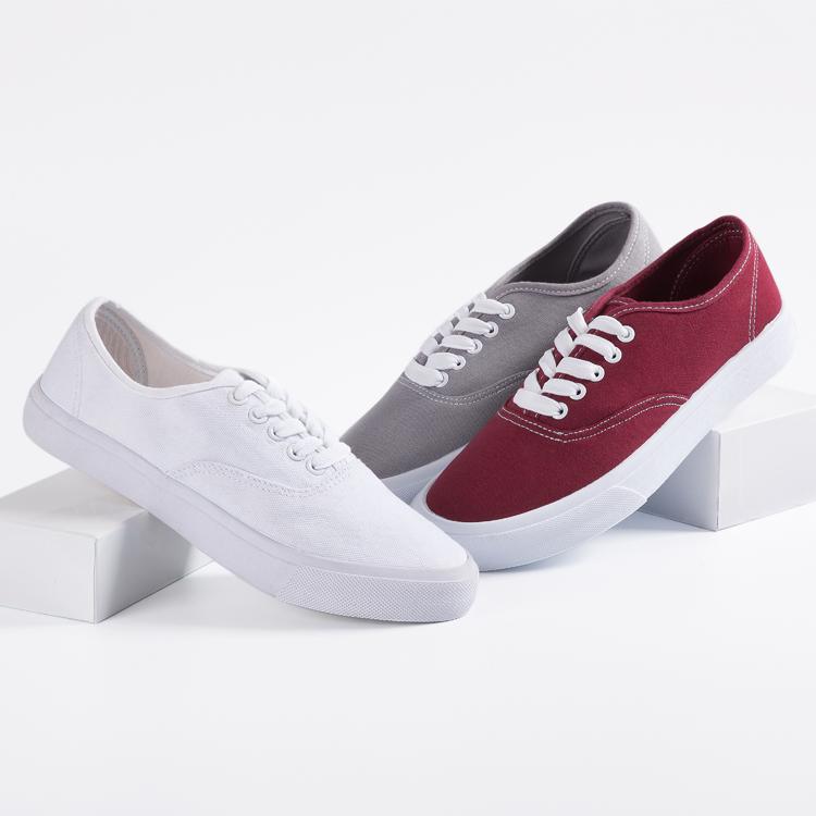 Men Women Design Logo Casual Canvas Leisure Sneaker Shoes  White Customized Color