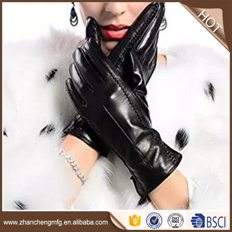 2017 fashion style fashio goat skin leather gloves with great price