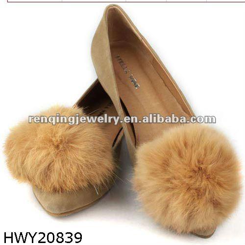 5f82a897 2012 conejo de moda el pelo Flor del zapato y zapato adornos para las  señoras calzado