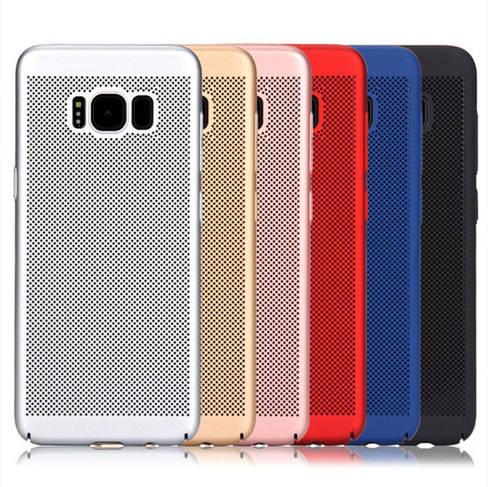 Rubber painting Hard PC Heat Dissipation mesh phone case Gridding Mobile Phone case for Samsung Galaxy S8 Plus