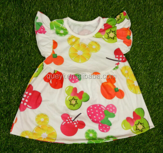 2016 of the latest design children's summer wear boutique wholesale fruit dress cute ears