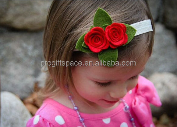 2017 new hot China fabric flower crafts bulk handmade eco friendly felt cheap wholesale artificial Christmas holidays headbands