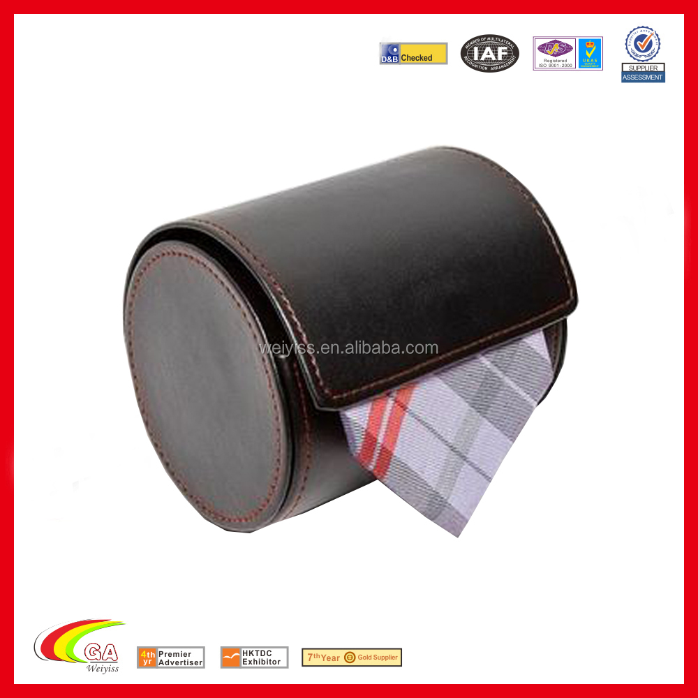 Black Leatherette Magnet Travel Bow Tie Gift Box, Wholesale Leather Tie Box For Storage
