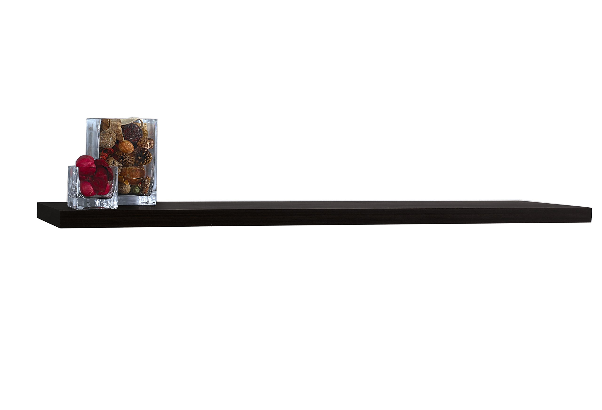 InPlace Shelving 9084674 Slimline Floating Wall Mountable Shelf with Invisible Brackets, Black, 48-Inch Wide by 8-Inch Deep by 1.25-Inch High