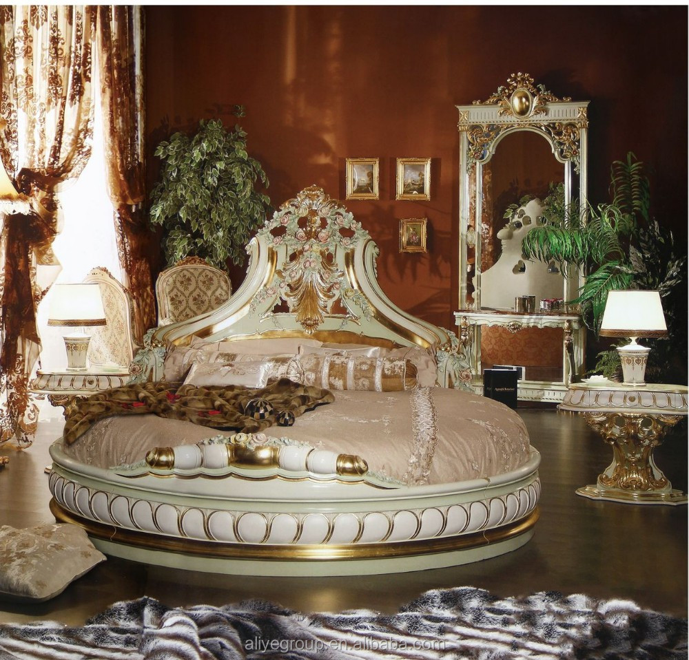 AS2201- French style round bed, solid wood hand carved round bed, luxury  round
