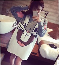Loose Large Size Women Long Section Harajuku Hedging Hoodies Cartoon Printed Long-sleeved Sweatshirt Women Moleton Feminino